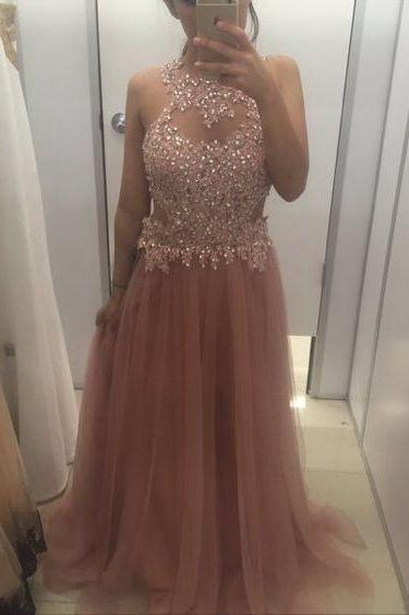 Halter Prom Dress,Tulle Prom Dress,Beading Prom Dresses,Long Prom Dress,Formal Dress