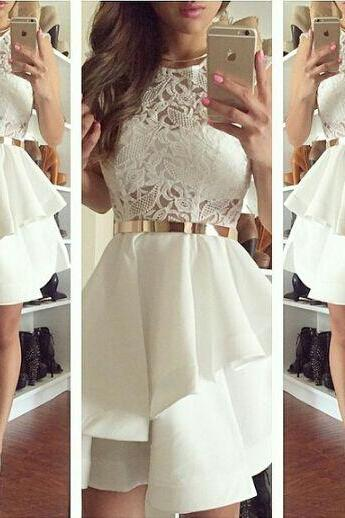 New Arrival Ivory Homecoming Dress,Lace Short Prom Dress