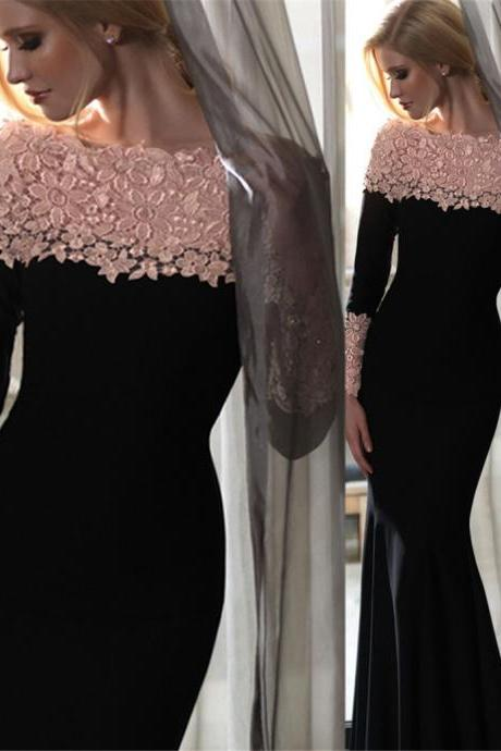 Long Mermaid Prom Dress,Lace-Appliques Elegant Off-the-Shoulder Long-Sleeves Evening Gowns