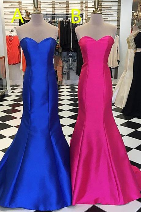 Royal Blue Prom Dress, Lace Up Long Prom Dresses,Simple Cheap Sweetheart Prom Gowns,Elegant Bridesmaid Dresses,Hot Pink Party Dresses