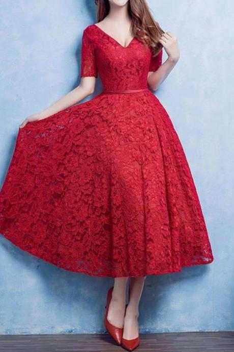 Charming Prom Dress,Red Lace Prom Dress,Lovely Prom Dress,Prom Party Dress,Short Prom Dress,Red Lace Formal Dress,Dress For Teens