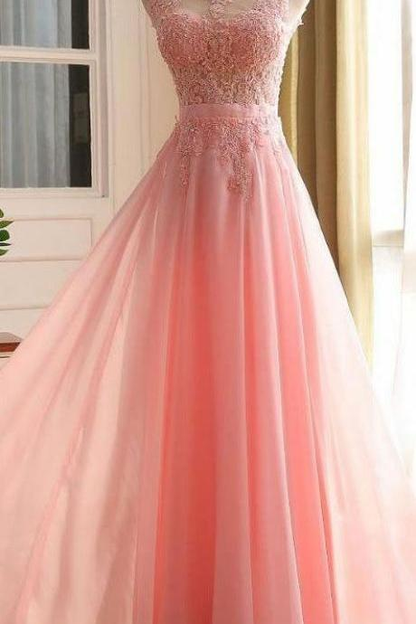 Prom Dress,Lace Appliques Prom Dresses, Floor Length Prom Dress, Formal Dresses, A-line Sleeveless Zipper Back Chiffon Lace Prom Dresses
