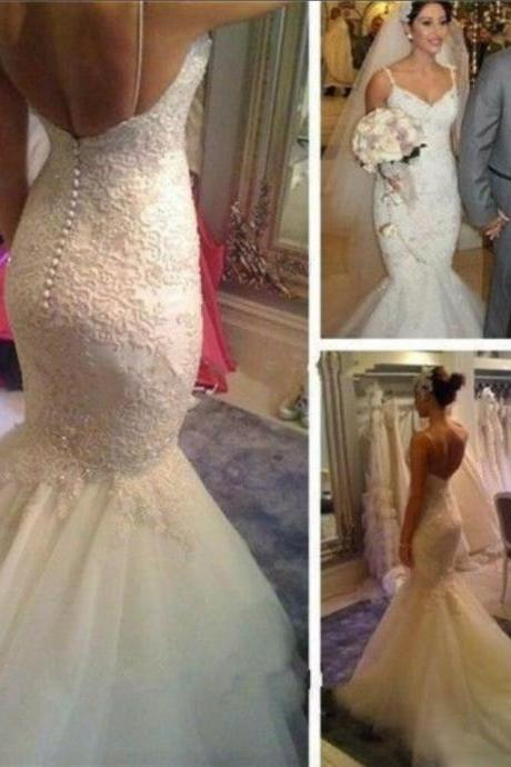 Mermaid Wedding Dress,V-Neck Sleeveless Wedding Dresses,Backless Lace and Applique Ivory Bridal Gown