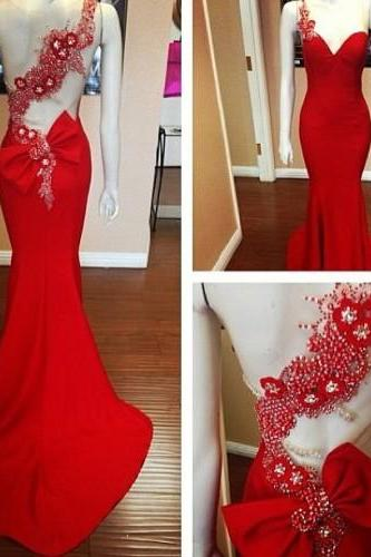 Sexy Mermaid Square Court Train Hollow Evening Dresses Halter Natural Waist Beaded Red Carpet Wedding Dresses