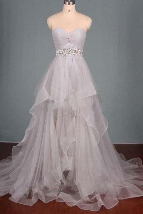 White Prom Dress,Sweetheart Beaded Evening Dress,Layered Full Length Party Dress