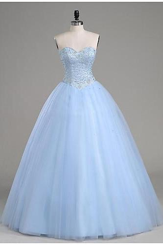Ball Gown Prom Dress, Light Blue Prom Dresses, Sweetheart Prom Gown, Beading Evening Dresses, Tulle Formal Dresses, Prom Dress