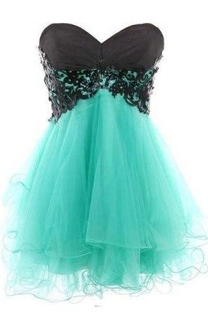 Vintage Sweetheart Black And Mint Tulle Short Prom Dress,Cute Homecoming Dress,Black Lace Short Cocktail Dress,Mini Length Cheap Party Gown,Tulle Skirt Prom