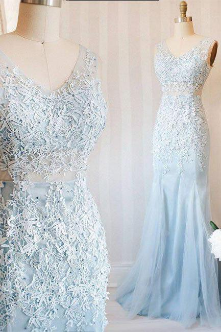 Blue Prom Dresses, V neck Prom Dress, Lace Prom Dresses,Tulle Long Prom Dress, blue Lace Evening Dress,Mermaid Prom Dresses,Prom Dress