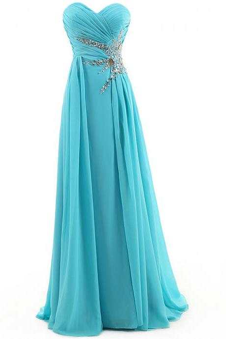Long Prom Dress, Evening Dress,A Line Dress,Long Chiffon Dress, Sweetheart Dress, Long Elegant Dress