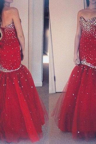 Sweet Heart Prom Dress, Red Prom Dress, Prom Dress, Mermaid Prom Dress, Sparkly Prom Dress, Lace Up Prom Dress, Evening Dress, Gorgeous Prom Dresses