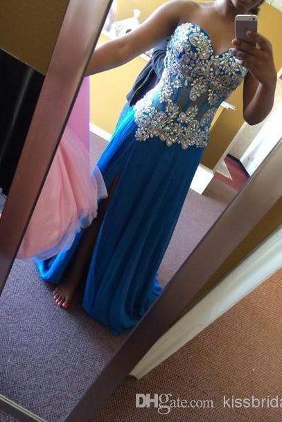 Hot Sale Prom Dress,Sexy Prom Dresses Sweetheart Neck Rhinestones Beaded A-Line Sleeveless Long Side Slit Sheer Evening Gowns Custom Made
