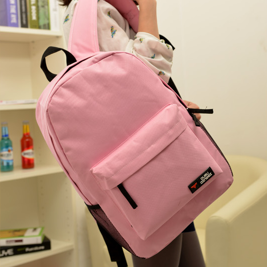 Fashion Pink Canvas Backpack Bags, SImple Large Capacity Leisure Canvas Backpack