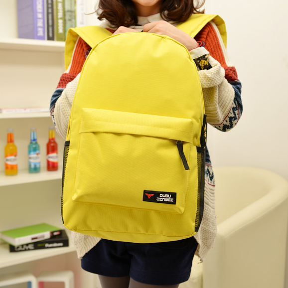 Fashion Yellow Canvas Backpack Bags, SImple Large Capacity Leisure Canvas Backpack
