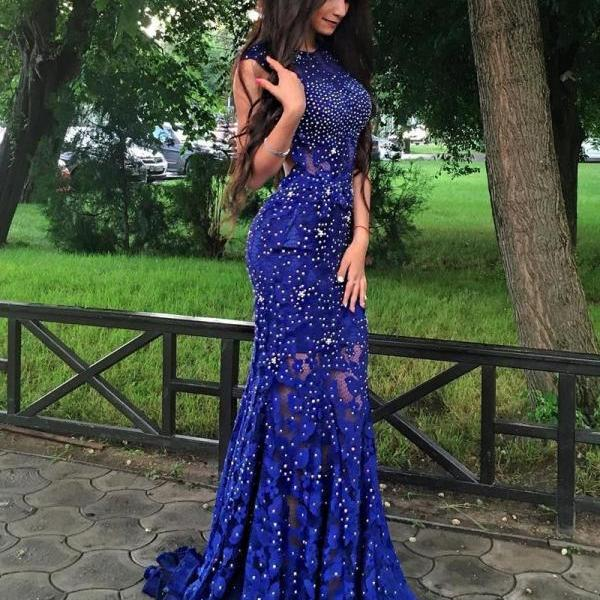 Exquisite Jewel Sweep Train Royal Blue Lace Mermaid Prom Dress with Beading Open Back