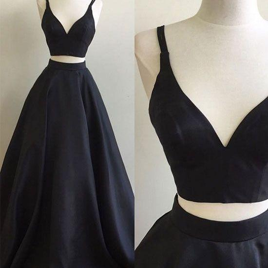 Black Two-Piece Formal Dress Featuring Plunge V Sleeveless Crop Top and Floor Length A-Line Skirt