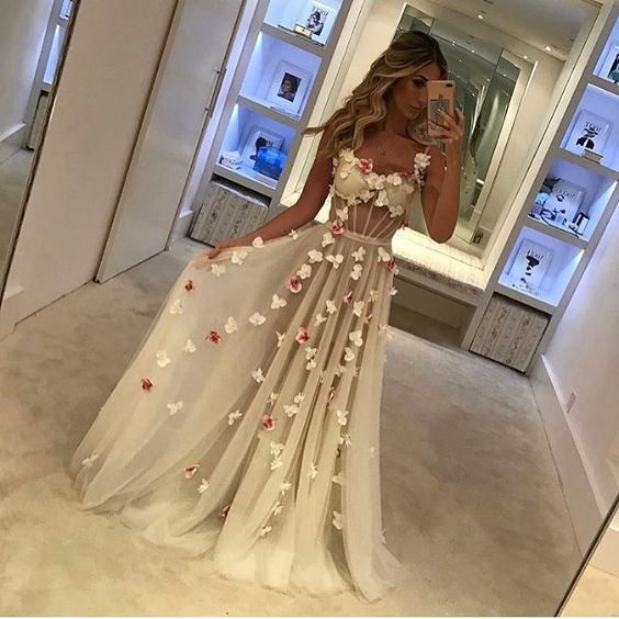 Elegant Prom Dresses,A-Line Prom Gown, Sleeveless Evening Dresses,Chiffon Long Prom Dress with Lace,Prom Dress