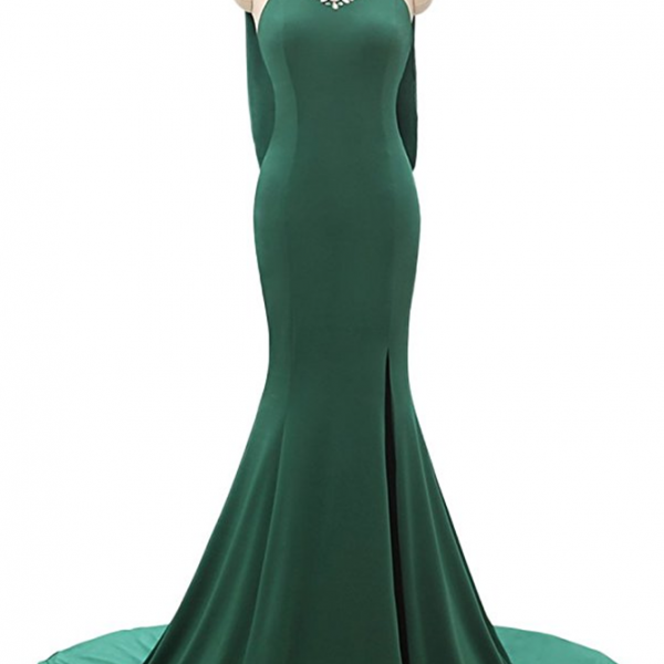 Charming Prom Dress,Sexy Prom Dresses,Long Prom Dresses,A Line Train Emerald Homecoming Dresses Side Split Long Prom Gowns