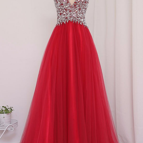 Soft Tulle New Actual Photo Prom Dress,Red A-Line V-Neck Floor-Length Beaded Crystal Prom Dresses Vestido De Festa Evening Gowns