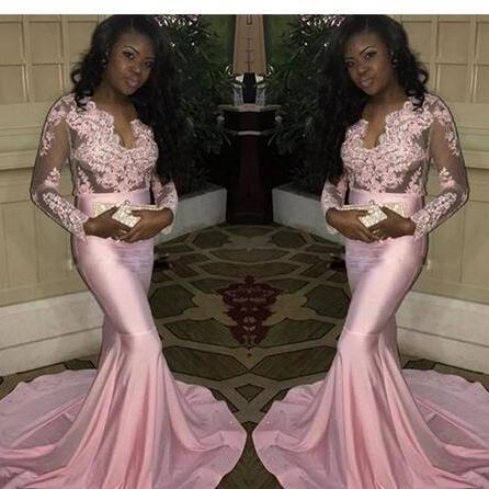 Sexy Attractive prom dress,Evening Dresses Plunging Long Illusion Sleeves Prom Gowns Back Zipper Mermaid Style Custom Made Formal Party Dresses African