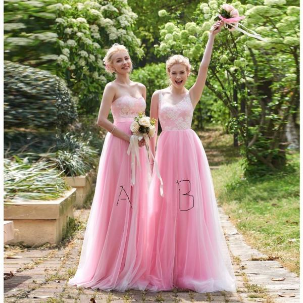 Lace Bridesmaid Dress, Pink Bridesmaid Dress, Long Bridesmaid Dress, Mismatched Bridesmaid Dresses, Cheap Bridesmaid Dress, Tulle Prom Dress, Wedding Party Dresses, Elegant Bridesmaid Dress, Bridesmaid Dresses