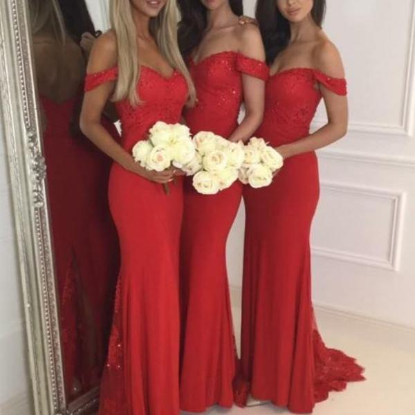 Mirusponsa red cap sleeve bridesmaid dresses long, bruidsmeisjes jurk, red bridesmaid dress, formal dress, evening dress, graduation dress