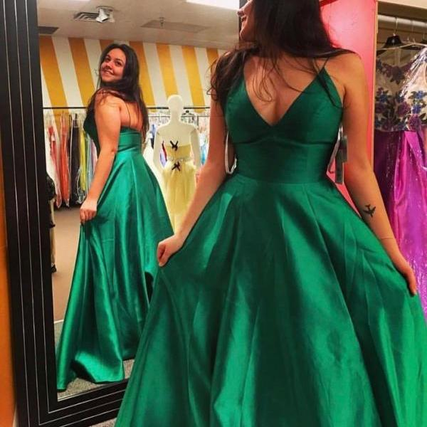Emerald Green Prom Dress with Spaghetti Straps
