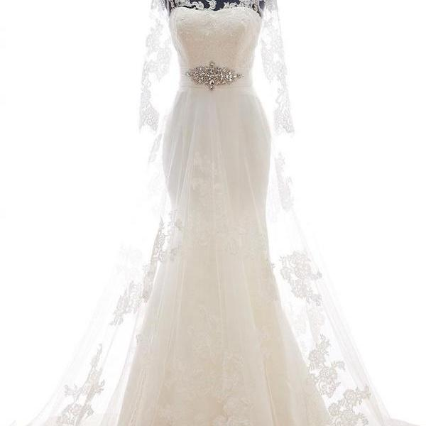 Mermaid Lace Tulle Court Train Wedding Dress with Sheer Sleeves and Illusion Neckline