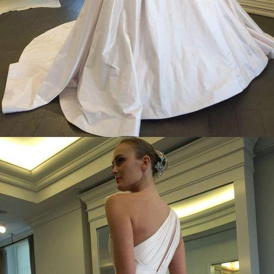 One Shoulder Wedding Dress,White Satin Wedding Dresses Formal Occasion Dress with Pockets