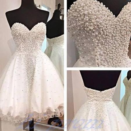 White Homecoming Dress,Short Homecoming Gown,Tulle Homecoming Gowns,Ball Gown Party Dress,Prom Dresses With Pearl Homecoming Dress For Teens