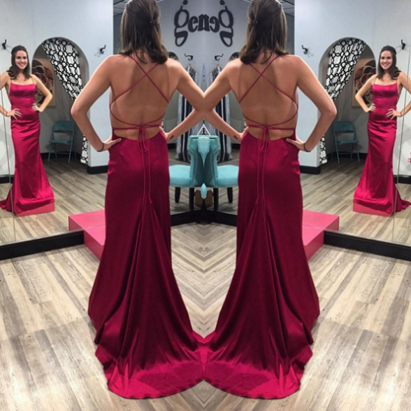 Satin Prom Dresses,Mermaid Long Party Dresses,Backless Evening Dresses,Sexy Formal Gowns