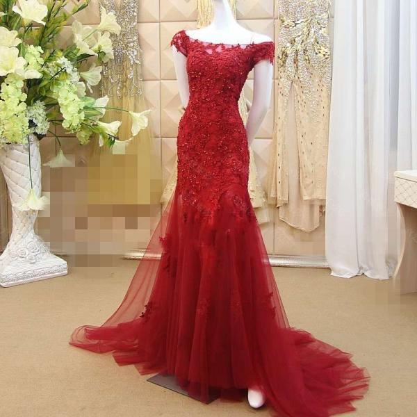 Sexy Bateau Applique Prom Dress,Lace Mermaid Wedding Dresses Formal Dress Long Prom Red Party Dress Evening Gown,Prom Dresses,Modesr Evening Dresses,Beauty Party Dresses