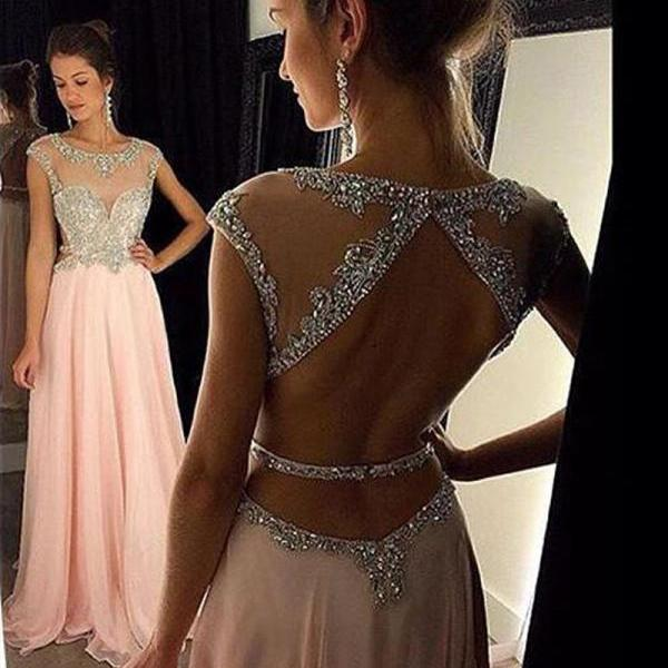 Women Strapless Beaded Formal Dresses,Pink Chiffon Prom Dress,Evening Party Gonws With Open Back Modesr Evening Dresses,Beauty Party Dresses