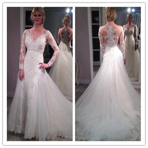 Lace Appliques and Beaded Embellished Plunge V Long Mesh Sleeves Floor Length Tulle Trumpet Wedding Dress Featuring Train