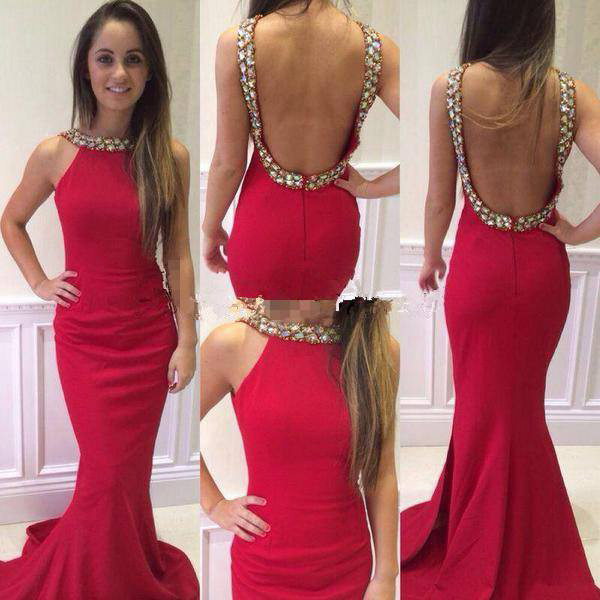 Sexy Mermaid Prom Dress with Open Back,Cheap Prom Dress,Formal Dress, Sexy Gril Dress, Floor-Length Prom Dresses, Evening Dresses, Custom Dress