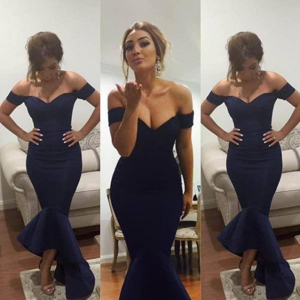 Navy Prom Party Dress Mermaid Style,Cheap Prom Dress,Formal Dress, Sexy Gril Dress, Floor-Length Prom Dresses, Evening Dresses, Custom Dress