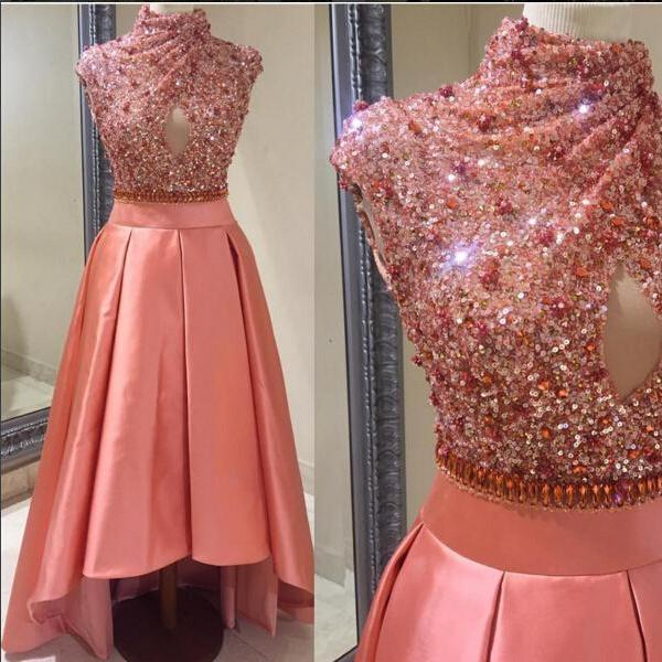High Neck Shiny Sequins Dubai Style Prom Dress, High Low Satin Party Dresses,Luxury Crsytal Sequins Cocktail Dresses 2017, Sexy Hollow Front Customize Party Dresses, Short Cap Sleeve Sequins Pink Cocktail Dresses 2017