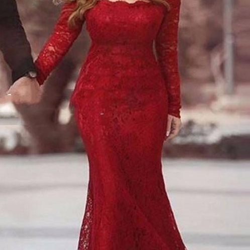 Cheap 2017 Long Red Lace Prom Dress, Vintage Long Sleeve Party Dress, Sexy Off The Shoulder Dark Red Party Dress, Boat Neck Dark Red Lace Celebrity Dresses, VintageDark Red Lace Mermaid Gala Gowns, Floor Length Mermaid Prom Dress Long 2017,