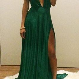 Green Chiffon Prom Dress,Sexy Evening Dresses,Prom Gowns,Elegant Prom Dress,Prom Dresses,Simple Evening Gowns,Modest Formal Dress