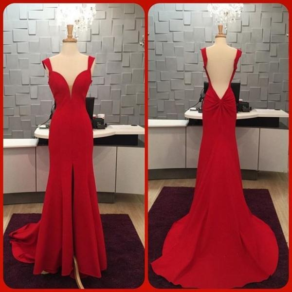 Prom Dress,Sexy Elegant Prom Dresses, Red Mermaid Long Evening Dress Cap Sleeve Backless Slit Sexy Prom Dresses