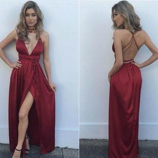 Charming Prom Dress,Satin Prom Dress ,V-Neck Prom Dress,Halter Prom Dresses