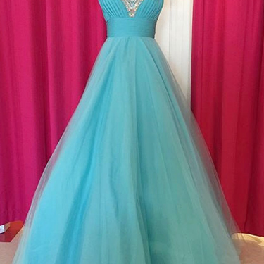 Fabulous Off Shoulder Floor Length Blue Ruched Prom Dress, with Beading Prom Dresses