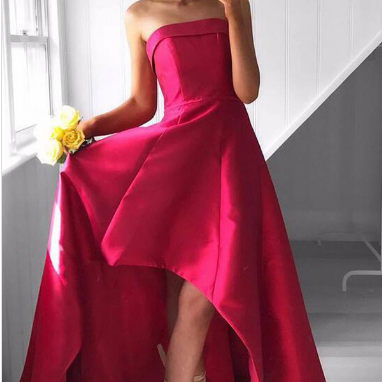 Fabulous Strapless High Low Fuchsia Pleated Prom Dress