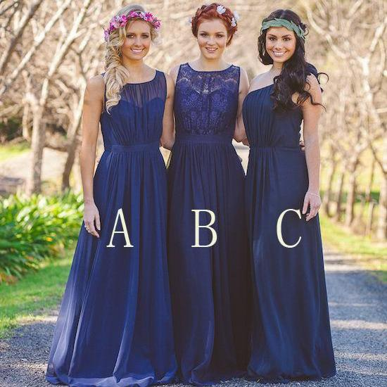 Long Mismatched Chiffon Bridesmaid Dress navy Blue Bridesmaid Dress bridesmaids dresses