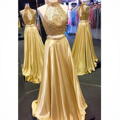 Elegant Prom Dress,Two Piece Prom Dress,Long Prom Dresses,Sleeveless Sexy Evening Dress,Prom Dresses
