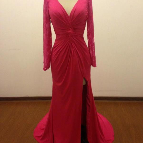 Long Sleeve Prom Dress,Floor-Length Zipper Appliques V-Neck Prom Dresses