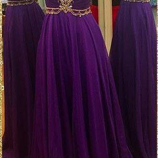 Purple Prom Dress,Cap Sleeve Open back Prom Dress,Gold Appliques Beaded Long Chiffon Prom Dress,Evening Dress,Formal Dress,Prom Dress for Women,Evening Dress for Women Formal