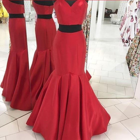 Senior Prom Dress, Prom Gown , Two Pieces Prom Dress, Red Prom Dress, Long Prom Dress, Wedding Reception Dress,Formal Evening Dress