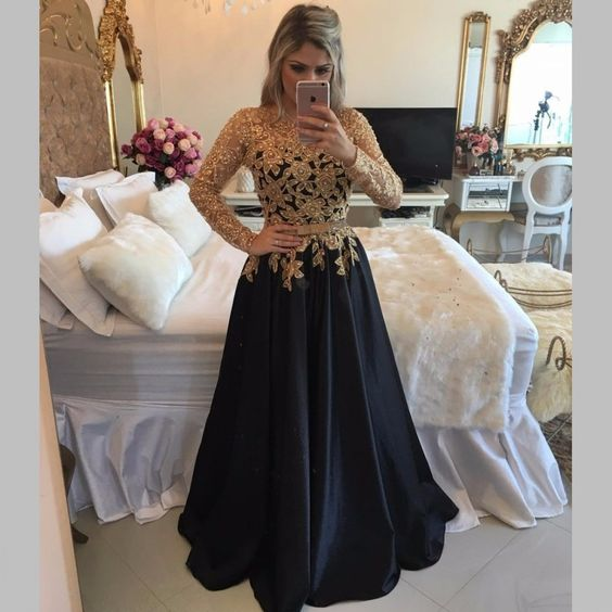 Sexy Illusion Back Long Party Dresses, Long Sleeve Black Prom Dresses With Gold Sequins, A Line Black Satin Pageant Prom Dresses, Jewel Neck Black Gala Dresses Plus Size 2017, Formal Black Evening Dress,Customize Gold Beaded Party Dress